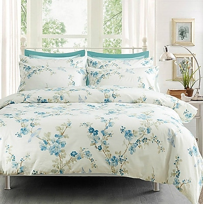 Sweety Pie Inc Garden Chinoiserie Floral Duvet Quilt Cover Set; Twin