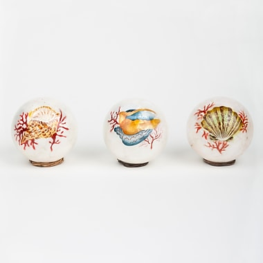 Frantic Fern Decorative Pearl Capiz Ball 3 Piece Sculpture Set