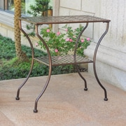 Darby Home Co Doric Iron 2-Tier Patio Table; Hammered Bronze