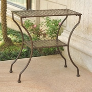Darby Home Co Doric Iron 2-Tier Patio Table; Matte Brown