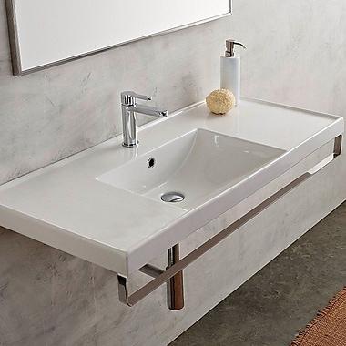 Scarabeo by Nameeks ML Rectangular 47.6'' Wall Mount Bathroom Sink w/ Overflow; 8'' Centers