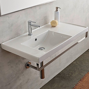 Scarabeo by Nameeks ML 36.2'' Wall Mount Bathroom Sink w/ Overflow; No Hole