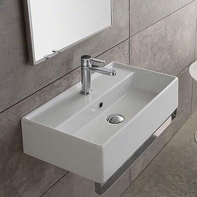 Scarabeo by Nameeks Teorema 23.6'' Wall Mount Bathroom Sink w/ Overflow; No Hole