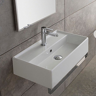 Scarabeo by Nameeks Teorema 31.5'' Wall Mount Bathroom Sink w/ Overflow; No Hole