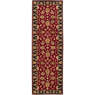 Charlton Home Markeley Hand-Tufted Burgundy Area Rug; Runner 2'6'' x 8'