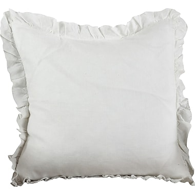 Saro Ruffled Linen Throw Pillow; Ivory