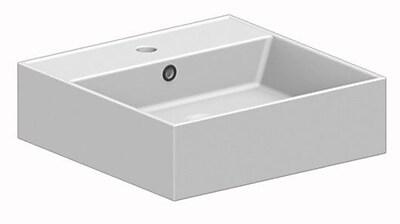 Scarabeo by Nameeks Teorema Ceramic 32'' Console Bathroom Sink w/ Overflow; 8'' Widespread