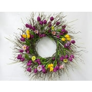 Dried Flowers and Wreaths LLC Tulips and Wildflower 22'' Wreath