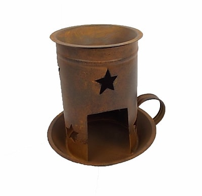 Craft Outlet Old Fashioned Country Tart Warmer Hurricane; Antique Rusty