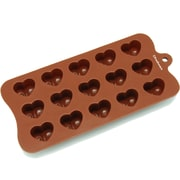 Freshware 15 Cavity Dimpled Valentine Heart Silicone Mold Pan