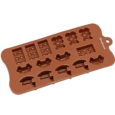 Freshware 15 Cavity Toy, Car, Block and Bear Silicone Mold Pan