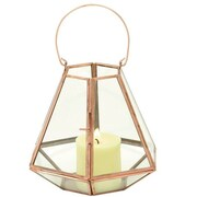 Cole & Grey Glass Lantern; Copper Gold / Clear