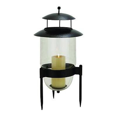 Cole & Grey Pagoda Metal and Glass Lantern