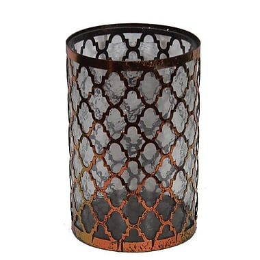 Essential Decor & Beyond Metal and Glass Lantern; 10.5'' H x 7'' W x 7'' D