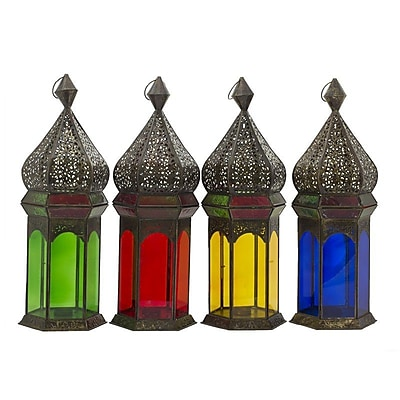 Essential Decor & Beyond Metal Lantern; Red WYF078280040292