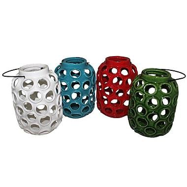 Essential Decor & Beyond Luna Ceramic Lanterns; Red