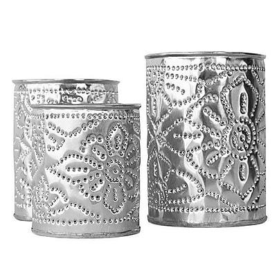 Brilliant Imports 3 Piece Aluminum Candle Holder Set; 4.25'' H x 3'' W x 3'' D