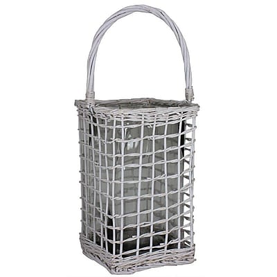 Essential Decor & Beyond Rattan and Glass Lantern; 13.5'' H x 8.5'' W x 8'' D WYF078280040093