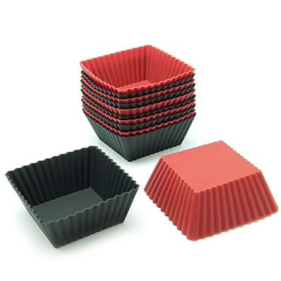 Freshware Silicone Square Reusable Cupcake and Muffin Baking Cup (Set of 12); Black/Red WYF078280041446