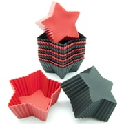 Freshware Silicone Mini Star Reusable Cupcake and Muffin Baking Cup (Set of 12); Black/Red