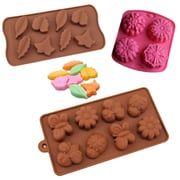BargainRollback 3 Piece Non-Stick Garden Flower, Butterfly and Leaves Silicone Mold Set