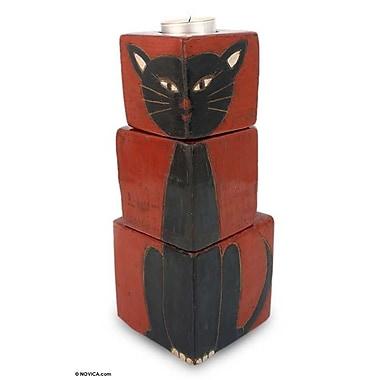 Novica 3 Piece Ceramic Cat Votive Set