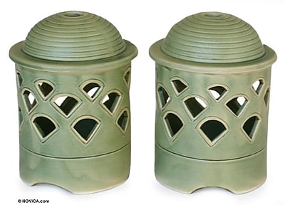 Novica Ceramic Lantern (Set of 2)