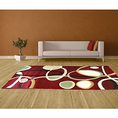 Brady Home Hand-Carved Red Area Rug; 4' x 6'