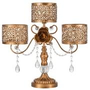 AmalfiDecor Victoria  3-Pillar Metal Candle Holder; Gold