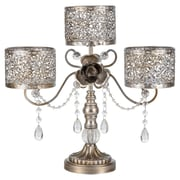 AmalfiDecor Victoria  3-Pillar Metal Candle Holder; Silver