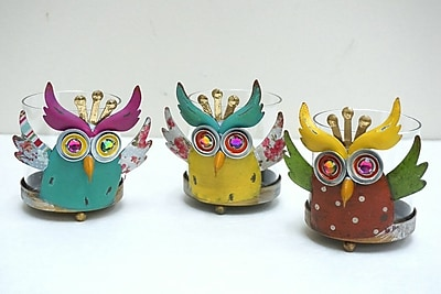 AttractionDesignHome 3 Piece Owl Hurricane Candle Holder Set