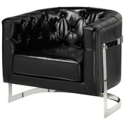 Brayden Studio Cleary Stainless Steel Frame Tufted Barrel Chair