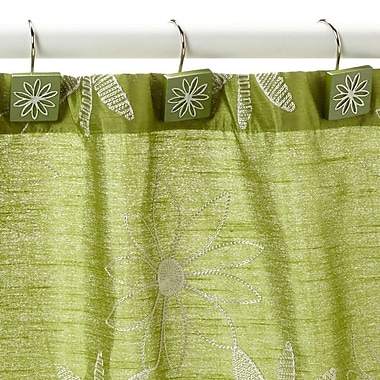 Popular Bath Products Daisy Stitch Shower Curtain Hooks (Set of 12); Lime