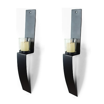 AdecoTrading Metal and Glass Sconce (Set of 2)