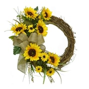 Floral Home Decor 18 inch Sunflower Wreath by