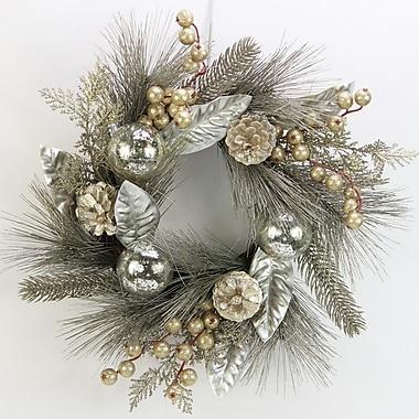 AdmiredbyNature 16'' Metallic Pine Cone Ornament Ball Berry Cedar Christiams Wreath/Candle Ring