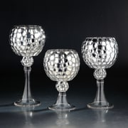 Diamond Star Glass 3 Piece Glass Hurricane; Silver