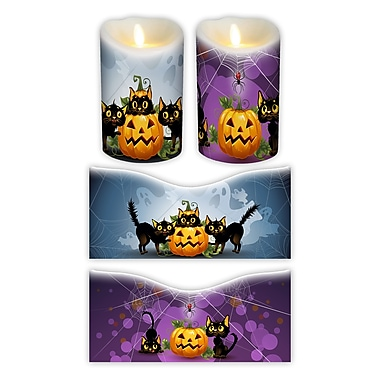 FlamelessDecor 2 Piece Halloween Votive Candle Wrap (Set of 2); 7'' H x 3.5'' W x 3.5'' D