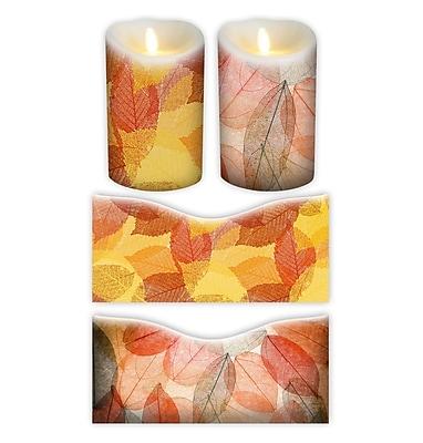 FlamelessDecor 2 Piece Autumn Votive Candle Wrap (Set of 2); 5'' H x 3.5'' W x 3.5'' D