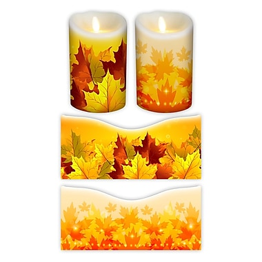 FlamelessDecor 2 Piece Autumn Votive Candle Wrap (Set of 2); 5'' H x 3.5'' W x 3.5'' D