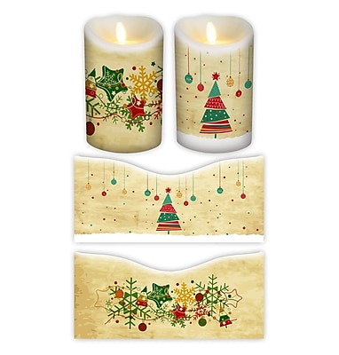 FlamelessDecor 2 Piece Holiday Votive Candle Wrap (Set of 2); 5'' H x 3.5'' W x 3.5'' D
