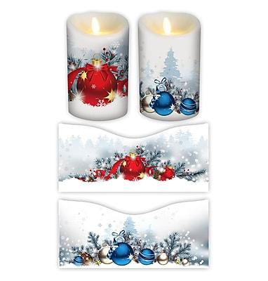 FlamelessDecor 2 Piece Holiday Votive Candle Wrap (Set of 2); 7'' H x 3.5'' W x 3.5'' D