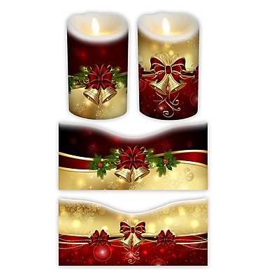 FlamelessDecor 2 Piece Holiday Votive Candle Wrap (Set of 2); 7'' H x 3.5'' W x 3.5'' D