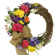 Floral Home Decor Silk Rose 19'' Wreath w/ Burlop Ribbon and Butterfly