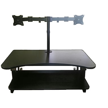 rocelco dadrdm2 deluxe adjustable sit u0026 stand desk riser dual monitor mount black