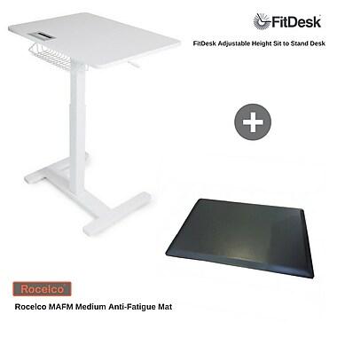 FitDesk – Ensemble de bureau réglable assis/debout avec tapis anti-fatigue MAFM moyen (FD2050MAFM)