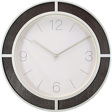 Kiera Grace – Horloge murale Sterling HO87565-5, 15,5 po, argent/bois foncé