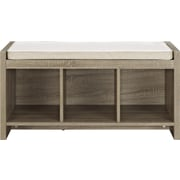 Ameriwood Home Penelope Entryway Storage Bench with Cushion, Distressed Gray Oak, (7522396PCOM)