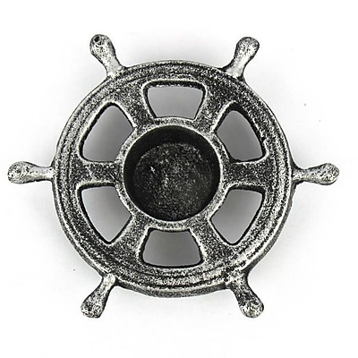 Handcrafted Nautical Decor Ship Wheel Iron Votive; Antique Silver