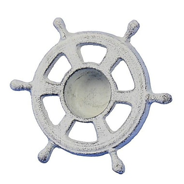 Handcrafted Nautical Decor Ship Wheel Iron Votive; White